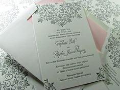 Modern lace letterpress wedding invitation with cotton envelope and pink liner. Letterpress Wedding Invitations, Wedding Invitation Design, Wedding Stationary, Invites, Wedding Vendors, Wedding Events, May Weddings, Rose Photos, Seattle Wedding