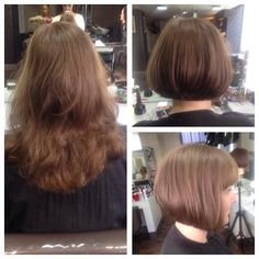 Huge transformation!! Long layered haircut into a sharp graduated Bob! Had so much fun doing this cut...