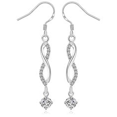 Kinitial 925 Plated Drop Earring Fashion Zircon Infinity Symbol Dangle Earrings for Girl Best Gift Jewelry #Affiliate