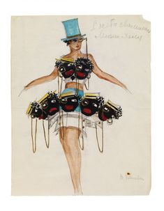 """Attributed to Valentina Khodasevich, """"Fallen from Heaven"""" (Costume Design) Gouache, watercolour and gold-bronze paint over pencil on thin machine-made paper, Russian Avant Garde, Berlin, Fancy Costumes, Theatre Costumes, Masquerade Ball, Russian Art, How To Make Paper, Costume Design, Gouache"""