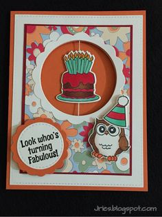 Art Impressions Rubber Stamps: Ai Whoots, Ai Mini Spinners: 4734 – Mini Cake Spinner Set ... F4124 – Little Whoot ... handmade birthday card with owl.
