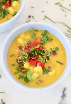 Easy Vegan Potato Corn Chowder Recipe Easy thick and creamy vegan potato corn chowder made in 1 pot with coconut milk potatoes onion celery and thyme. Healthy hearty dairy-free gluten-free and a little smoky from a touch of smoked paprika. Vegan Lentil Soup, Vegan Soups, Chowder Recipes, Soup Recipes, Veggie Recipes, Whole Food Recipes, Potato Corn Chowder, Clean Eating Soup, Soup Kitchen