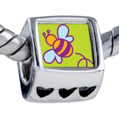 Pugster Silver Plated Photo Bead Bumblebee Beads Fits Pandora Bracelet Pugster. $12.49. It's the photo on the heart charm. Hole size is approximately 4.8 to 5mm. Unthreaded European story bracelet design. Fit Pandora, Biagi, and Chamilia Charm Bead Bracelets. Bracelet sold separately