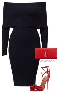 """Black x Red"" by efiaeemnxo ❤ liked on Polyvore featuring Franklin, Aquazzura and Yves Saint Laurent"