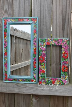 Update a picture frame or mirror with patterned duct tape!  Duck tape brand!