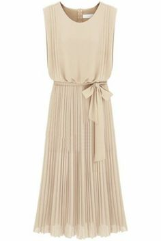 Apricot Sleeveless Back Zipper Belt Pleated Dress - Sheinside.com Mobile Site