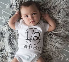 Half Birthday 1/2 Birthday Bodysuit 6 Month by HopscotchKidzUK