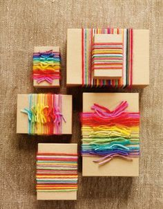Colorful yarn as bows