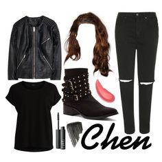 Chen from EXO M Call me baby MV inspired by look by mynotebookofstyle on Polyvore featuring VILA, H&M, Topshop, Penny Loves Kenny, NARS Cosmetics, Burberry, Urban Decay, EXO, exom and chen