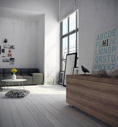white stained hardwood floor interior