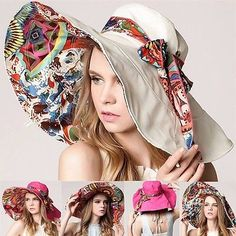 Women Lady Beach Sun Hat Floppy Wide Large Brim Summer Anti UV Dual Purpose Cap