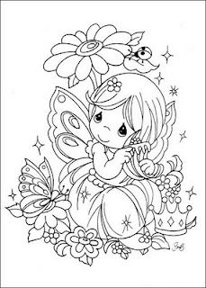 coloring page Precious moments on Kids-n-Fun. Coloring pages of Precious moments on Kids-n-Fun. More than coloring pages. At Kids-n-Fun you will always find the nicest coloring pages first! Fairy Coloring Pages, Adult Coloring Pages, Coloring Sheets, Coloring Books, Paper Embroidery, Embroidery Patterns, Free Coloring, Coloring Pages For Kids, Kids Coloring