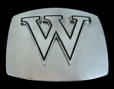 INITIAL LETTER NAME W CHROME BELT BUCKLE BELTS BUCKLES