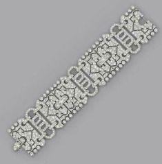AN ART DECO DIAMOND BRACELET Designed as three pavé-set diamond openwork plaques to the geometric diamond openwork links, circa cm long, with French asaay mark for platinum Art Deco Jewelry, Modern Jewelry, Jewelry Design, Rose Jewelry, Jewelry Bracelets, Diamond Bracelets, Statement Bracelets, Silver Jewelry, Diamond Jewellery