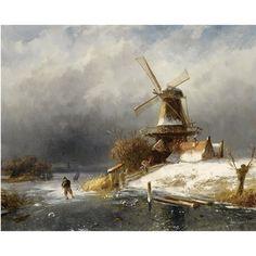 CHARLES HENRI JOSEPH LEICKERT A WINTER LANDSCAPE WITH SKATERS NEAR A WINDMILL