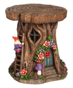 Look what I found on #zulily! Solar Light-Up Tree Trunk Gnome Home Décor #zulilyfinds