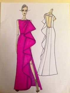 Sketch of a bubblegum pink silk duchesse NIKOLAKI gown with exaggerated cascade front