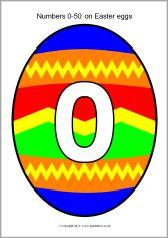 Numbers 0-50 on Easter eggs (SB692) - SparkleBox