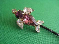 repurposed vintage rhinestone bird earring into bobby pin