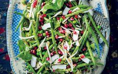 Green bean, pea, pomegranate and fresh coconut salad