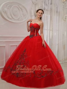 Sexy Red Quinceanera Dress Sweetheart Tulle Appliques Ball Gown  http://www.fashionos.com  A red quinceanera gown allows you to light up the night. Your enthusiasm is fully presented with this dress. It features with a sweetheart neckline and appliques throughout the dress. The black appliques has a sharp compare with the red, so the embellishment is clearly presented to show its delication. A big skirt makes the dress really puffy for a amazing look. A lace up corset style closure in the…