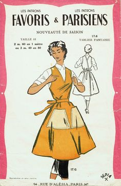 an archaeology of home sewing Sewing Hacks, Sewing Crafts, Sewing Tips, Novelty Aprons, Paris 14, Shop Apron, Vintage Dress Patterns, Apron Patterns, Work Aprons