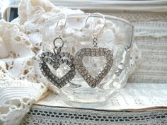 valenitne heart earrings mismatch rhinestone upcycle jewelry assemblage
