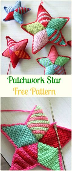 Crochet Toys Ideas Crochet Patchwork Star Free Pattern - Crochet Star Free Patterns - Crochet Star Plush Toys Free Patterns: Amigurumi Crochet Star, Star Pillow, Star Ornament Home Decorating, Baby Nursery Crochet Christmas Decorations, Crochet Decoration, Crochet Ornaments, Holiday Crochet, Crochet Gifts, Cute Crochet, Crochet Christmas Hats, Christmas Gifts, Christmas Flowers