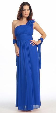 Eureka Fashion - 2005 Ruffled Shoulder Accent Asymmetrical A-Line Gown Blue Bridesmaid Gowns, Royal Blue Bridesmaids, Photos Of Dresses, Empire Silhouette, Royal Blue Dresses, Fashion Now, A Line Gown, Special Occasion Dresses, A Line Skirts