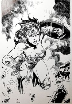 Now it was time to ink this iconic piece, I used G pen to ink it and brush for the big black spots. Wonder woman by Jim Lee. Wonder Woman Drawing, Wonder Woman Art, Wonder Woman Comic, Dc Comics Characters, Dc Comics Art, Comics Girls, Black And White Comics, Black And White Drawing, Comic Book Heroes