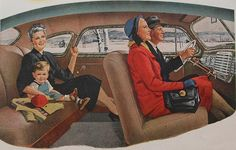 No seatbelts.  If the car was crowded, we would sit on the floor.  Remember laying in the back seat window, too.