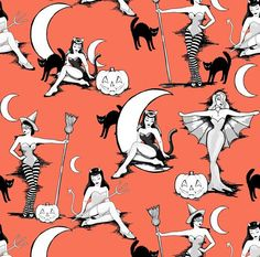 Pinup Witches Fabric – Vintage Halloween Pinups In Pumpkin Orange By Beesocks – Halloween Retro Cotton Fabric By The Yard With Spoonflower Halloween-Kunst! Retro Halloween, Spooky Halloween, Halloween Kunst, Halloween Crafts, Halloween Costumes, Halloween Pin Up, Happy Halloween, Halloween Drawings, Halloween Design