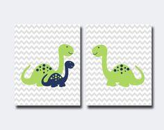 Baby Boy Dinosaur Nursery Art Print Nursery Wall Art by HopAndPop