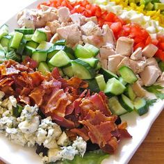 Cobb salad - blue cheese, bacon, cucumber, chicken/turkey, tomato, hard boiled egg, avocado.  One of my favorite things.