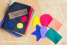 An easy to make fun felt book of shapes. A great quiet time activity to make for your little one