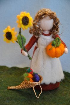 Waldorf inspired needle felted doll/Soft Sculpture/Standing doll: Autumn fairy with sunflowers,pumpkin and cornocupia. Made to Order. $58.00, via Etsy.