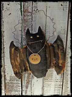 Primitive Bat Halloween Folk Art Door Greeter by CountryLifeisBest