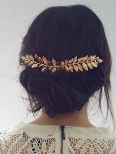 Gold Long Laurel Hair Comb Bridal Hair Bride Hair Bridesmaid Hair Bridesmaid Jewelry Bride Hair Accessories Wedding Hair Wedding Hair Comb