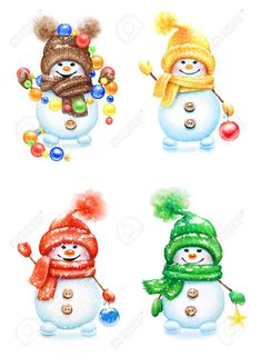 Picture of Collection of watercolor hand drawn cute snowmen in mittens and hats with decorative balls for New Year tree isolated on white background. stock photo, images and stock photography. Christmas Labels, Christmas Clipart, Christmas Snowman, Cute Snowman, Snowman Ornaments, Snowmen, Christmas Drawing, Christmas Paintings, Snowman Clipart