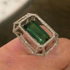 Tourmaline and diamond ring by F.Salini