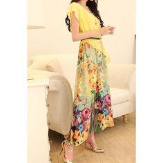 $18.14 Bohemian Scoop Neck Short Sleeve Chiffon Printed Women's Dress