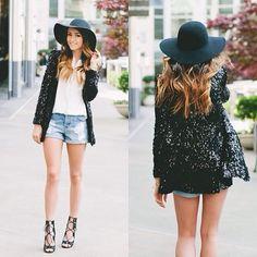 sequin jacket, white tee, blue jeans, black felt hat, black ankle boots