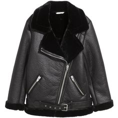 Oversized Biker Jacket $129 (€110) ❤ liked on Polyvore featuring outerwear, jackets, zip jacket, zipper jacket, faux-leather jackets, vegan motorcycle jacket and faux leather moto jacket