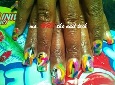 colored acrylics designs underneath by Msredapproved - Nail Art Gallery nailartgallery.nailsmag.com by Nails Magazine www.nailsmag.com #nailart