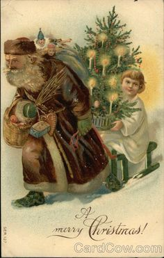 Santa in Brown Robe Pulling Sled with Child Holding Xmas Tree Series 127