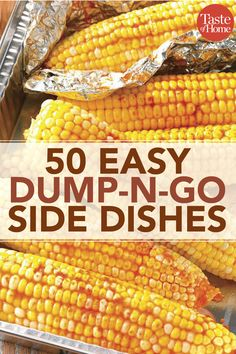 50 Easy Dump and Go Side Dishes 50 Easy Dump and Go Side Dishes 50 Easy Dump-N-Go Side Dishes<br> With minimal prep time and your trusty slow cooker, these dump-n-go side dishes make dinnertime so much easier. Camping Side Dishes, Cheap Side Dishes, Cookout Side Dishes, Crockpot Side Dishes, Party Side Dishes, Dinner Side Dishes, Side Dishes For Bbq, Summer Side Dishes, Potluck Dishes