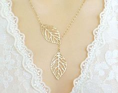 Leaf Lariat Necklace, Mother's Day Gift, Gold Leaves Necklace, Boho Jewelry, Gift for Mom, Gift for Best Friends, Birthday Gift