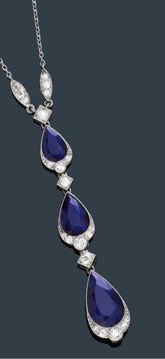 An-art-deco--sapphire-and-diamond-necklace--circa-1920
