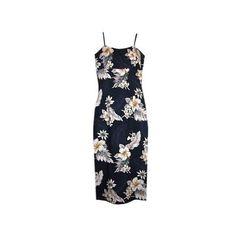 Blueberry Navy Long Hawaiian Skinny Strap Floral Dress   #sundress #hawaiiandresses #maxidress #sexyhawaiiandresses #floraldress #hawaiianweddingdress #hawaiiandress