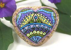 Hand Painted Stone Mandala Hearts of Stone by HiddenHorseRocks